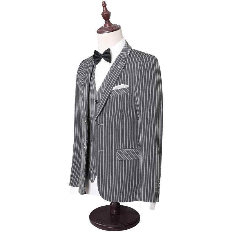 プラスサイズ 5XL ストライプ男性のスーツ英国スタイルのサイドカットビジネスフォーマルなカジュアルな結婚式スーツドレススリムフィットブランド服