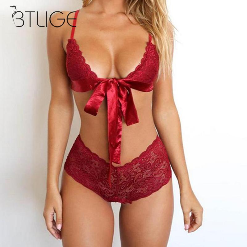 Black Red Sexy Lingerie Lace Brasserie Women Bra Set Fashion Bow Tie Bra Brief Sets Transparent Underwear Intimates 2019