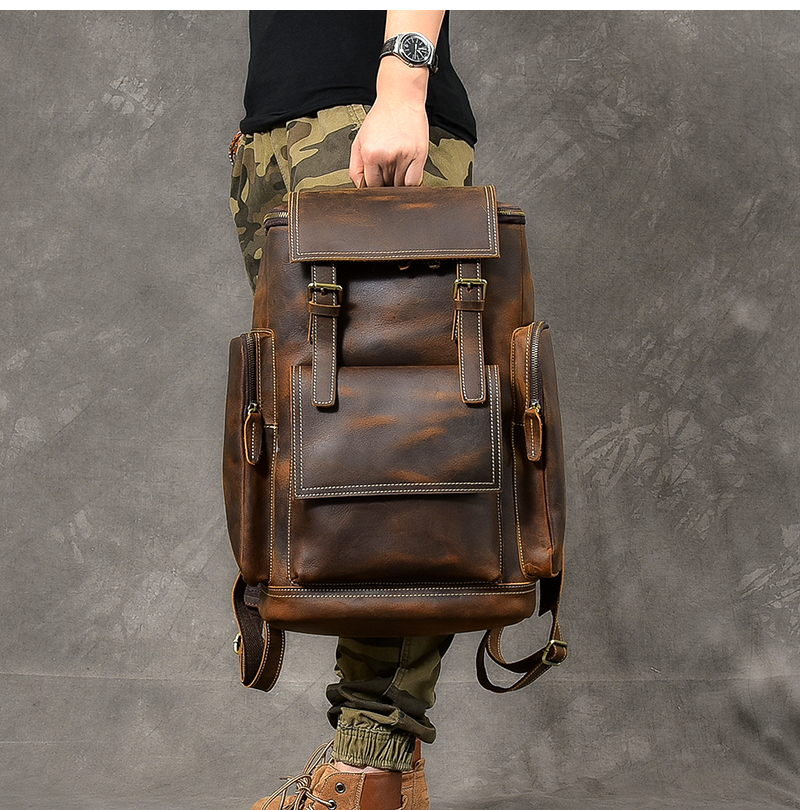 hore luxury leather backpack hand model