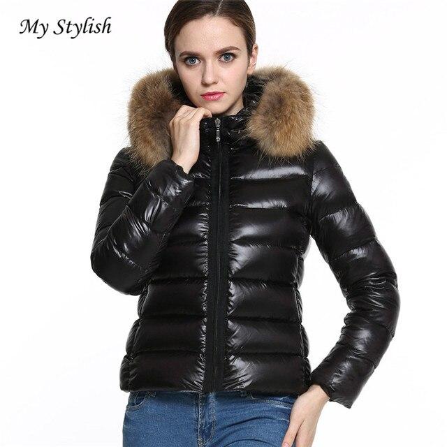 Nuevas mujeres de invierno Abrigos de plumas algodón parka corta Pieles de  animales cuello con capucha ba9e86f9fef5