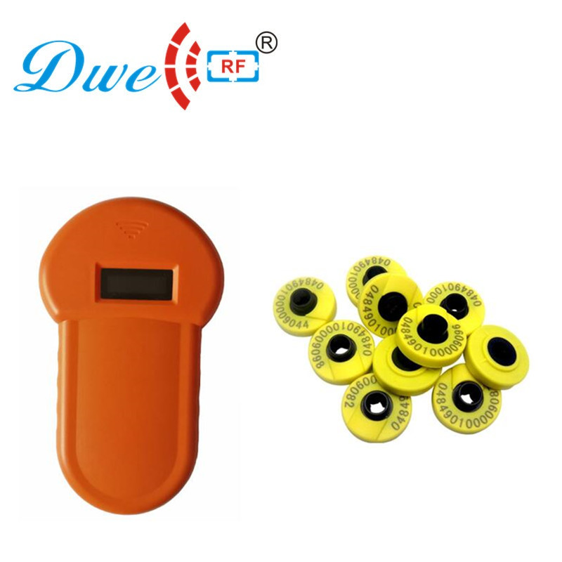 access control rfid readers mini handheld 134.2khz tag reader animal fdx-b EM4305 with led display 10 11784 11785 ear tags free