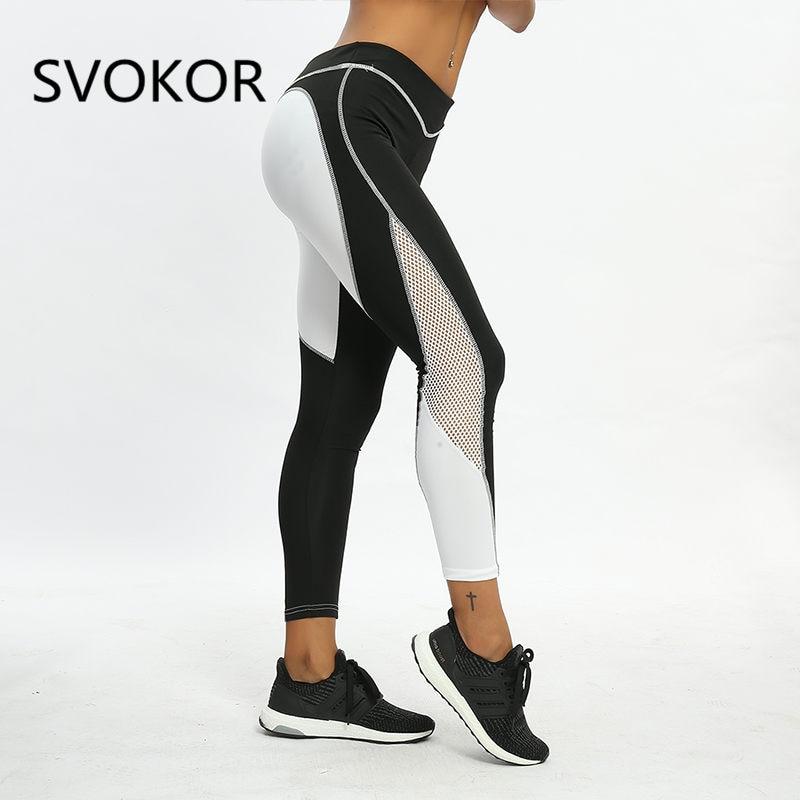 SVOKOR Heart Print Leggings Women Summer Polyester Mesh Patchwork Ankle-Length Pants Fashion Casual Fitness Female Legging