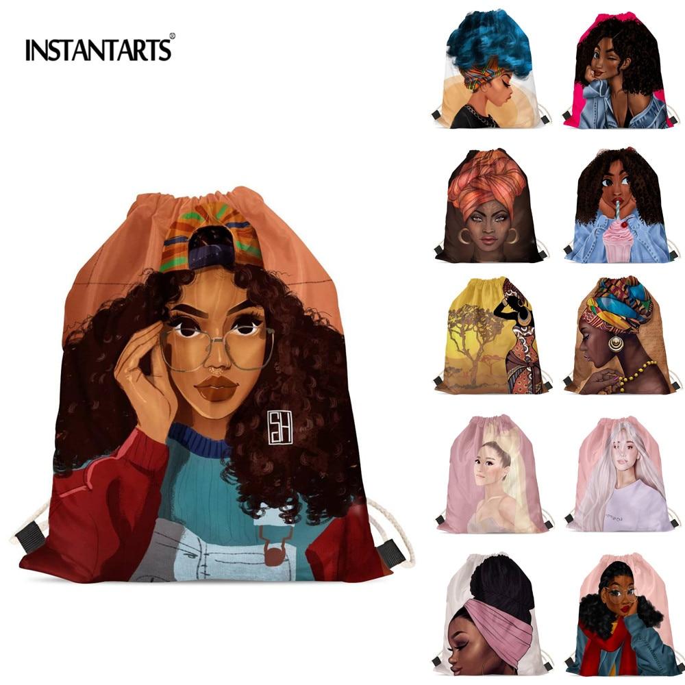 INSTANTARTS Fashion Sexy African Black Girl Print Drawstrings Bags Women Casual Shopping Bag Soft Art Design Shoulder Backpack