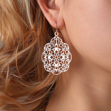 pair of stylish faux turquoise leaf alloy drop earrings for women 8SEASONS Vintage Hollow Drop Earrings New Trendy Fashion Jewelry for Women Black/Rose Gold/Silver Color Zinc Alloy, 1 Pair