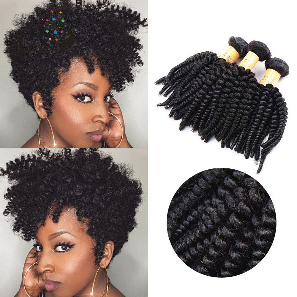 Brazilian Afro Kinky Curly Virgin Hair 3 Bundles Remy Human Brazilian Hair Weaving 9A Grade Curly Human Hair Bundle Deals Atina-in 3/4 Bundles from Hair Extensions & Wigs    1