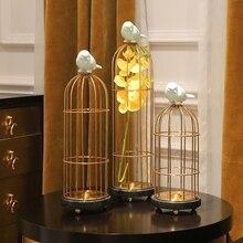 Creative classical Metal birdcage statue vintage home decor crafts room decoration objects study office Metal birds figurines стоимость