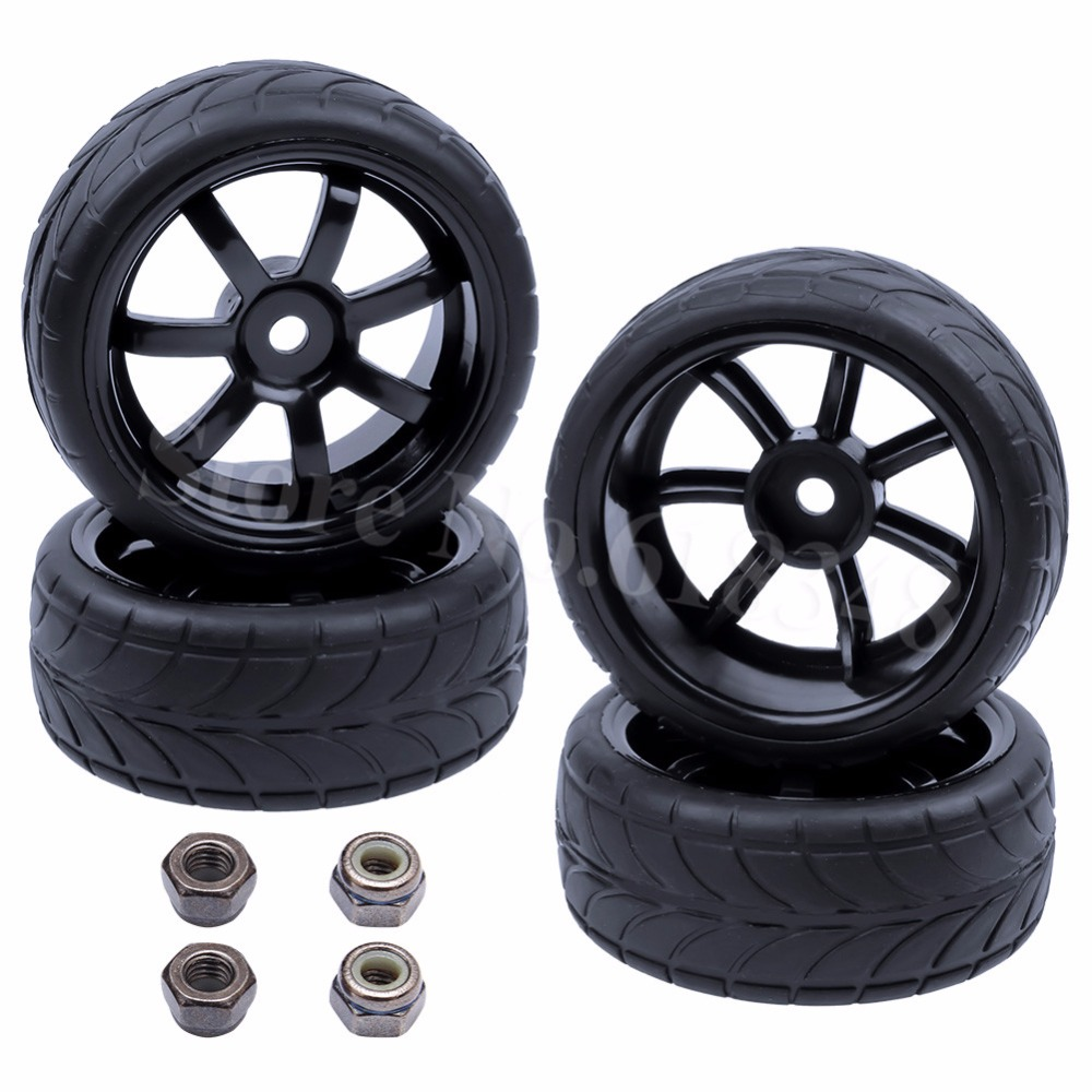 4Pcs / lot Rubber RC 1/10 On Road Tires Wheel Rims Hex 12 Run flat Dia: 63mm Wide: 26mm RC Cars Replacement