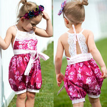 Newborn Kids Baby Girls Lace Backless Jumpsuit Clothes