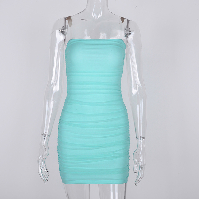 Clear Strap Soild Dress  5