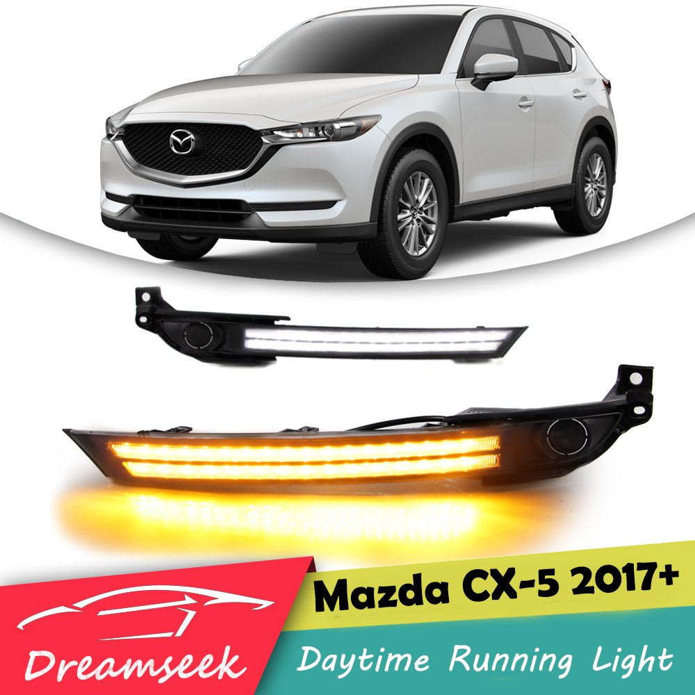 <font><b>LED</b></font> DRL <font><b>For</b></font> <font><b>Mazda</b></font> <font><b>CX</b></font>-<font><b>5</b></font> CX5 2017 2018 <font><b>2019</b></font> Daytime Running Light + Fog Light Bezel With Turn Signal Lamp image