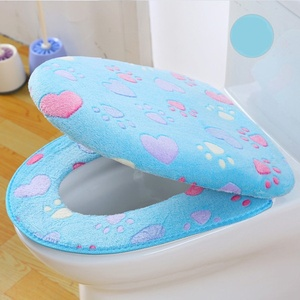 Image 5 - Thick Coral velvet luxury toilet Seat Cover Set soft Warm Zipper One / Two piece toilet Case Waterproof Bathroom WC Cover