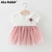 2019 Woman Baby Childrens Skirt 1 2 3 4 Year Girl Lapel Colour Aestheticism Dress