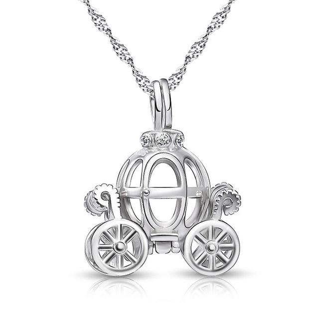 Sólido 925 Sterling Silver Charme Oco projeto Colar carro abóbora para crianças Cinderela Carruagem de Conto de Fadas pingente Melhor presente