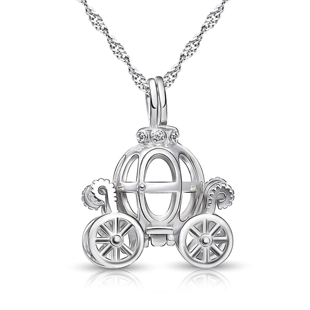 Solid 925 Sterling Silver Charm Hollow pumpkin car design Necklace for kids Fairy Tale Cinderella Carriage pendant Best gift