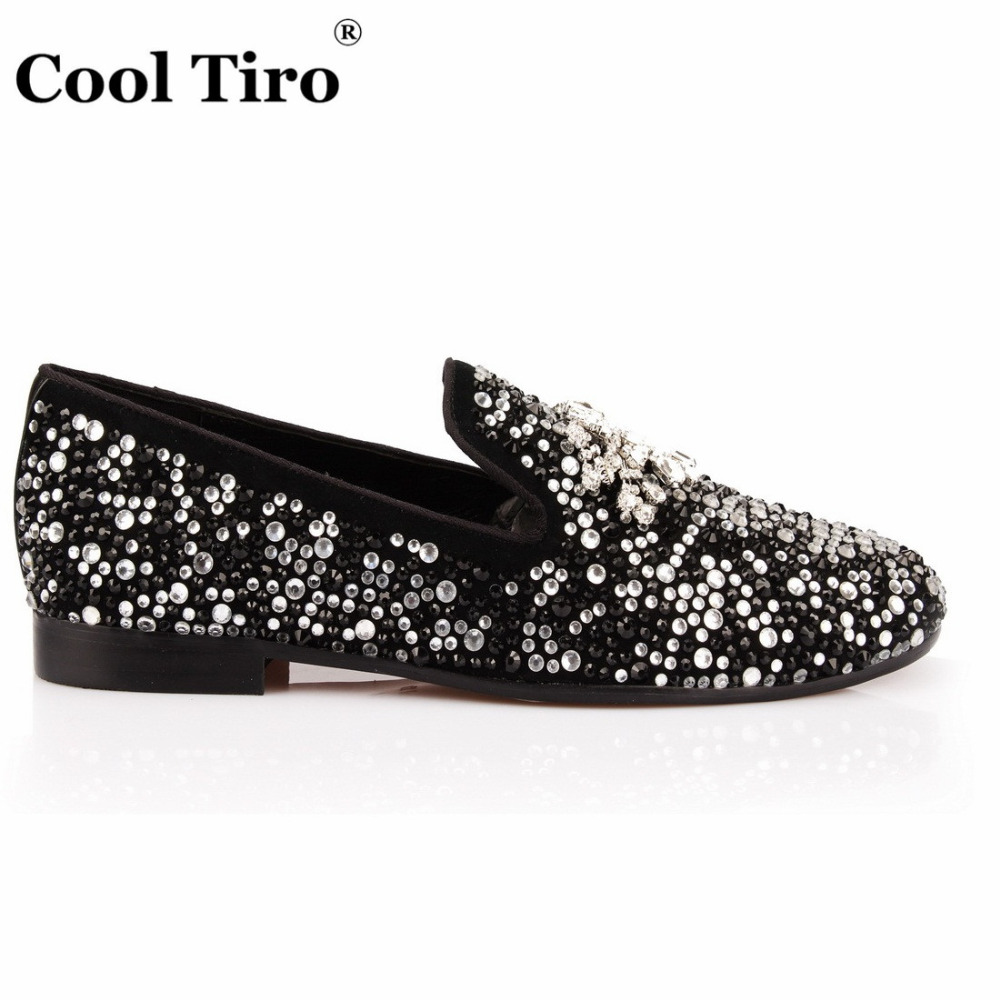 COOL TIRO Black White Strass Loafers Men Moccasins Crystals Tassel Suede Dress Shoes Flats Slippers Casual Shoes Mix Rhinestones-in Men's Casual Shoes from Shoes    2