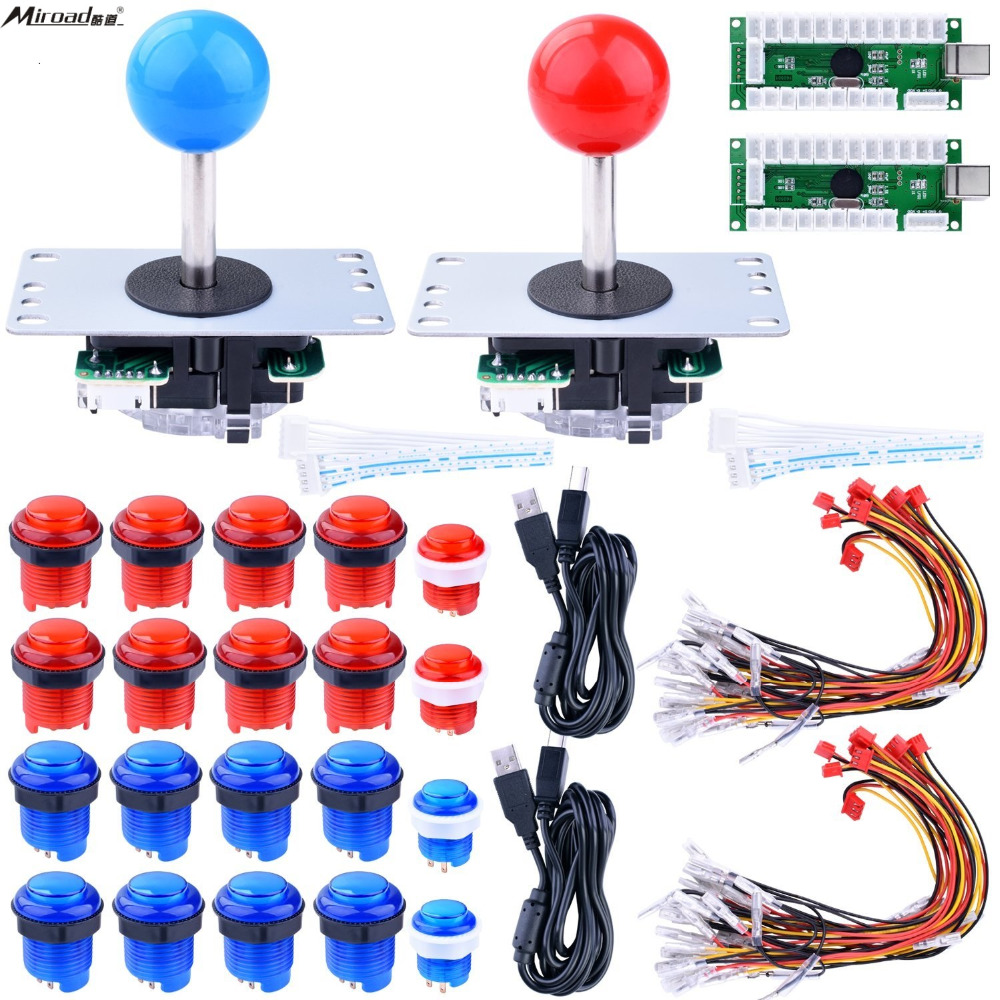 Miroad For Raspberry Pi 3 2 model B Retropie LED Arcade DIY Parts 2x Zero Delay USB Encoder + 2x 8 Way Joystick LR01 arcade diy parts zero delay usb encoder 8 way joystick led illuminated push buttons for video game consoles mame raspberry pi