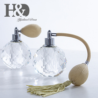 H&D Fashion Crystal Art Vintage Style Empty Refillable Perfume Atomizer Long Tassel Spray Bottle For Lady's Gift Home Decor 10ml
