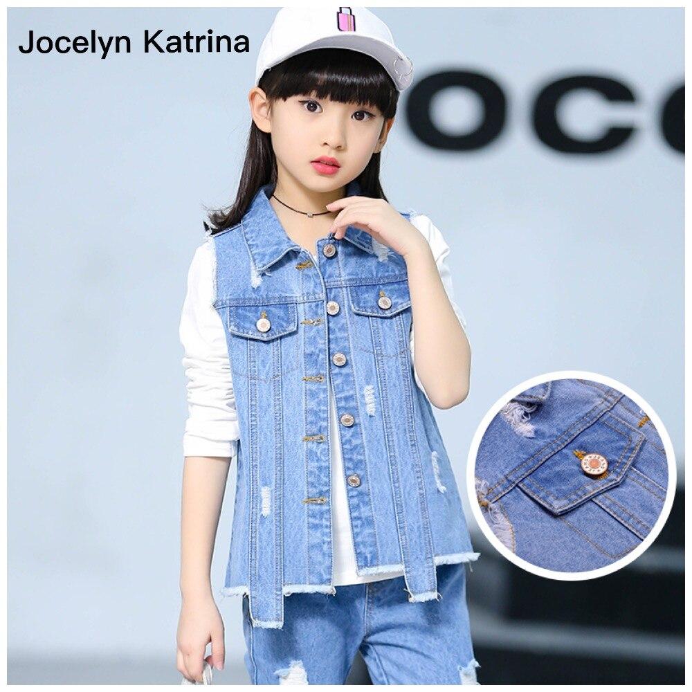 цена  Jocelyn Katrina 2017 Kids Clothes Cowboy Suit 3pcs Girls Outfits Jeans Denim Clothing Children Set 3-14 Years old Girl Clothes  онлайн в 2017 году