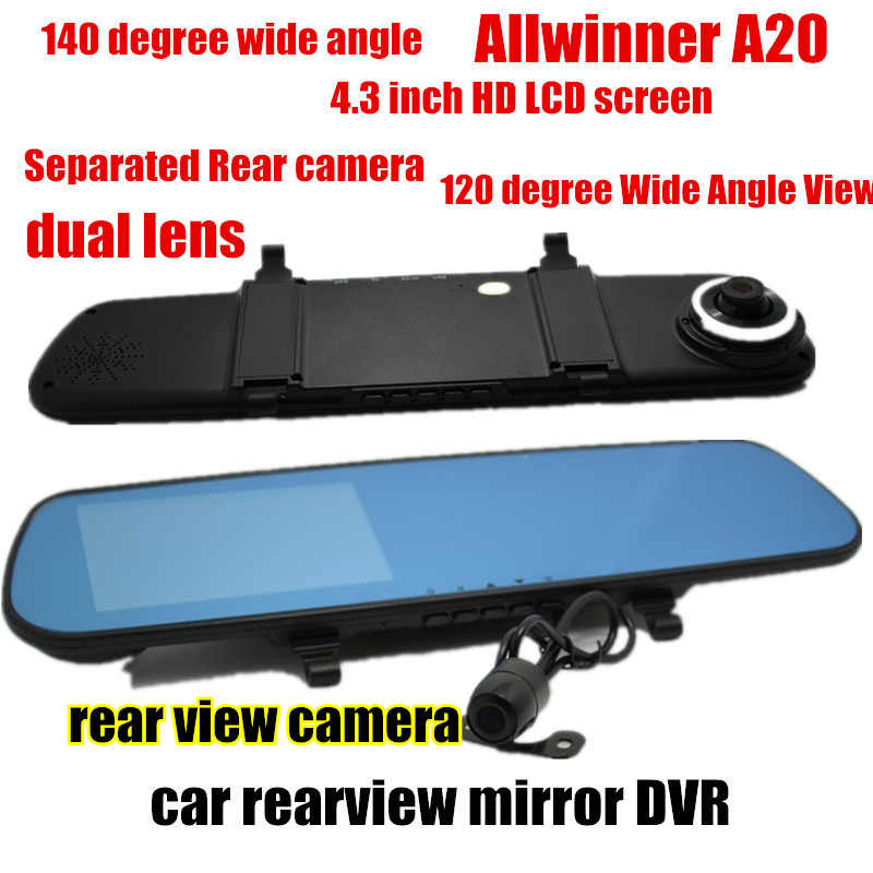 ФОТО Hot sale 4.3 inch Car Rearview Mirror DVR comcorder front 140 degree and back 120 degree Viewing angle Allwinner A20