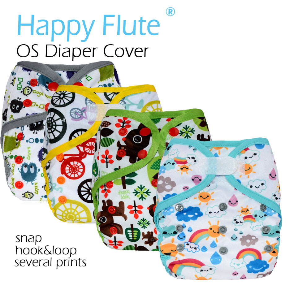 HappyFlute OS baby cloth diaper cover with or without bamboo insert,waterproof breathable S M& L adjustable,fit 5-15kg baby
