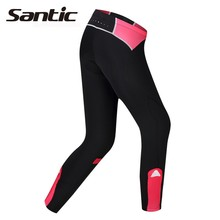 Santic Spring Autumn Women Breathable Cycling Trousers GEL Padded MTB Bicycle Long Pants For Bike Riding Anti-UV Quick Dry Tight