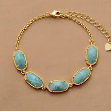 Chain Link Bracelet Amazonite Gold Color Charm Bracelets High End Natural Stone Bracelet Women Girlfriend Gifts(China)