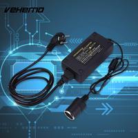 Vehemo 220V AC To 12V DC Vehicle Car Cigarette Lighter Power Converter Black AC100-240V