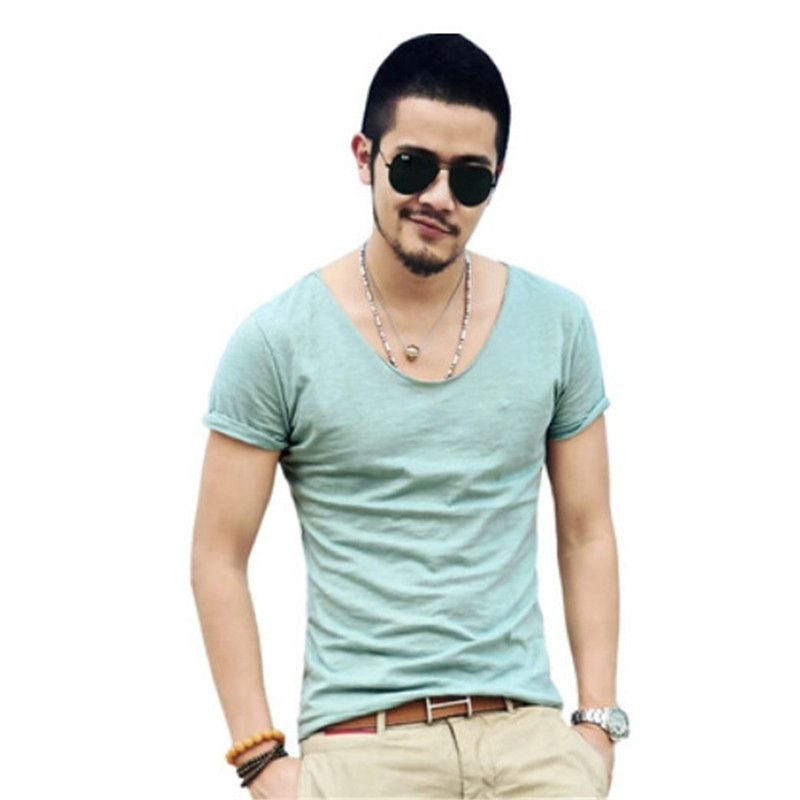 Clothes Deep V Neck T Shirt Men Short Sleeve T Shirts