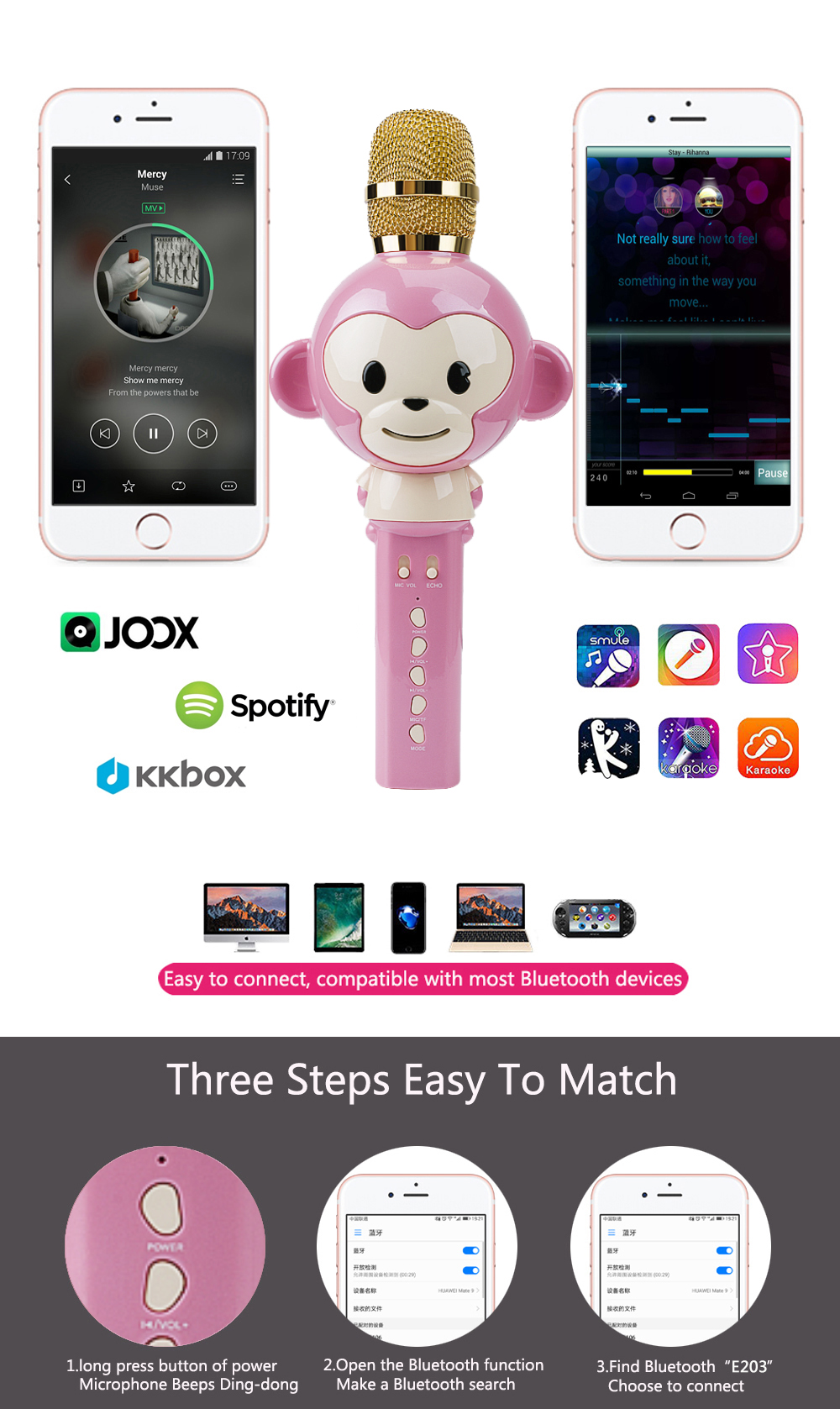 Wireless Microphone Cartoon Monkey Bluetooth Karaoke