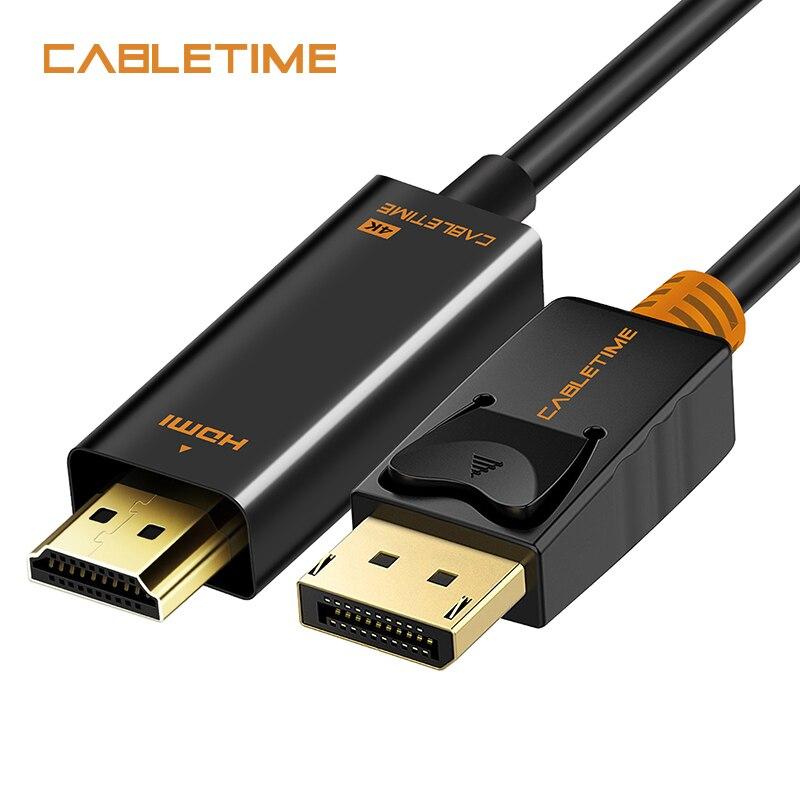 Cabletime DisplayPort Zu HDMI Kabel 1080 p DP Auf HDMI M/M 4 karat 60 hz Konverter DisplayPort 1,2 für HDTV Projektor Laptop PC N001