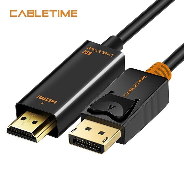 Cabletime Displayport To HDMI Cable 1080 P DP Để HDMI M/M 4 K 60 hz Chuyển Đổi DisplayPort 1.2 cho HDTV Chiếu Máy Tính Xách Tay PC N001