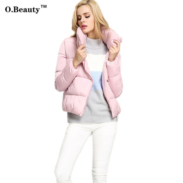 2016 Moda Inverno Casaco Curto Para Baixo Mulheres Jaquetas e Casacos de Cores Doces Espessamento Parka Quente Senhoras Casaco Manteau Femme