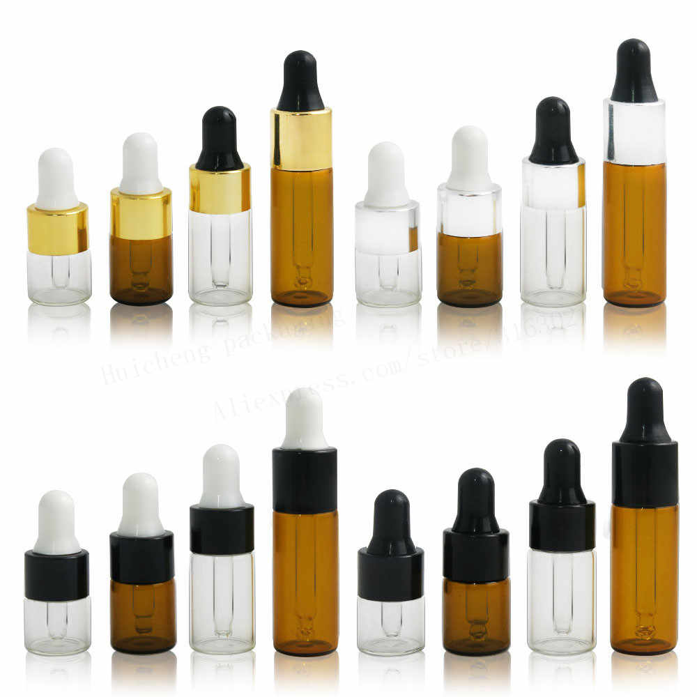 10 x 1ml 2ml 3ml 5ml Mini Empty Dropper Bottle Portable Aromatherapy Esstenial Oil Bottle with Glass Eye Dropper