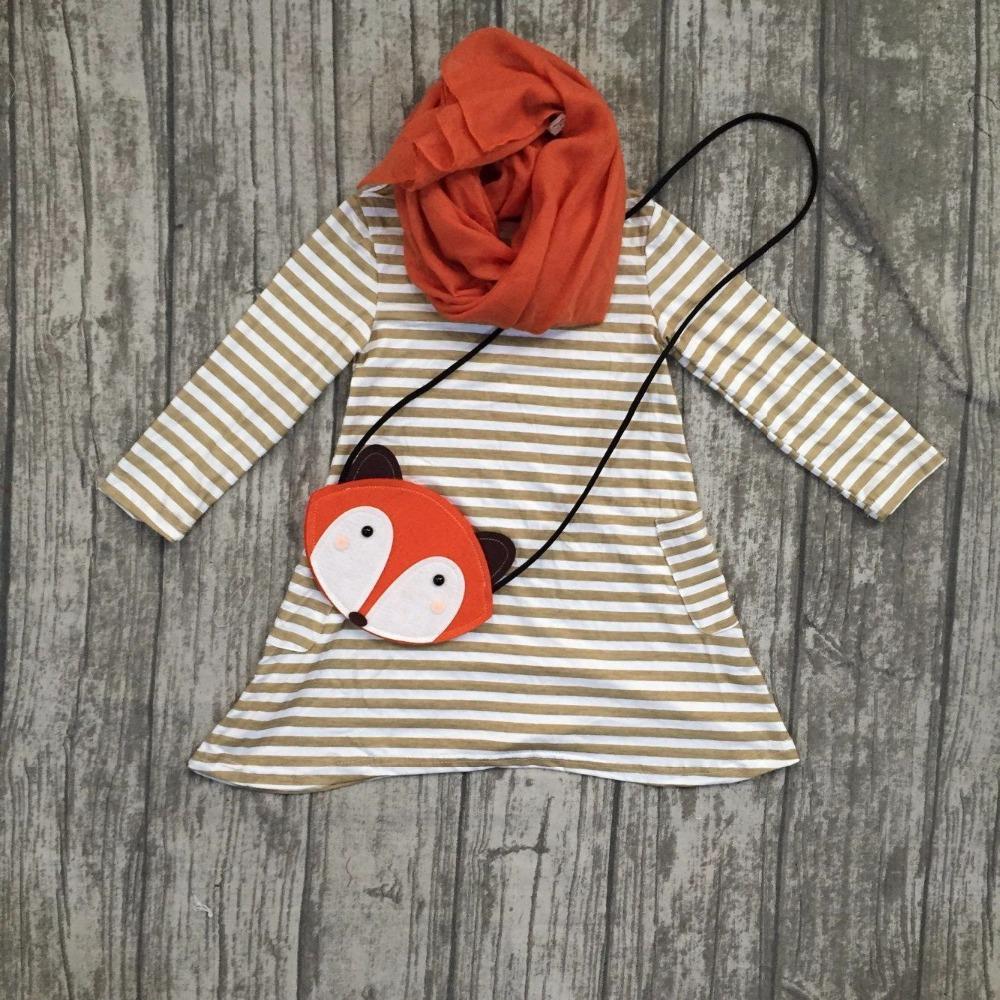 Fall/winter baby girls cotton striped orange light brown long sleeve dress children clothes match with fox bag and scarf pocket fall new korean girls scout s striped
