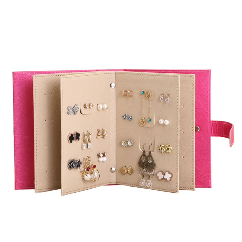 Fashion PU Leather Makeup Organizers Portable Women Earrings Collection Necklace Jewelry Organizer Book Display Accessories