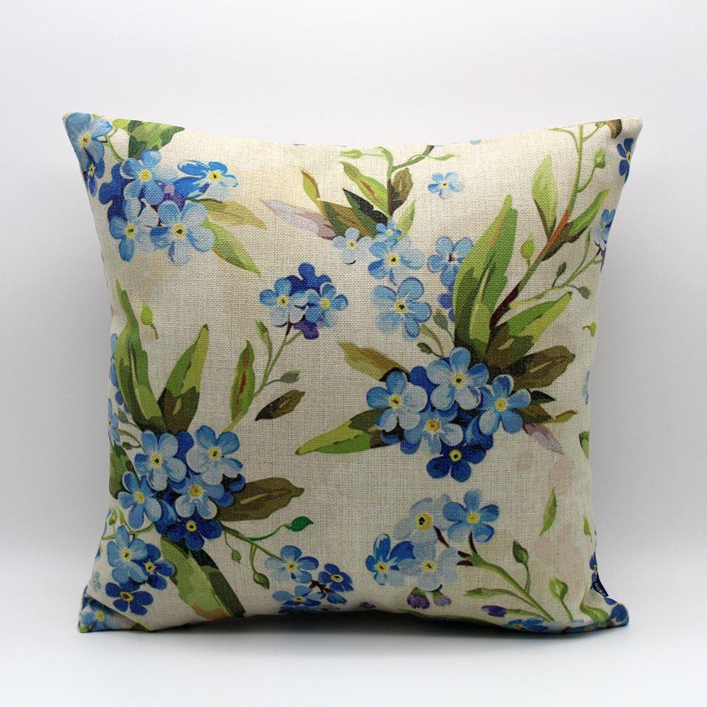 웃 유Linkwell 18 x 18 moderne aquarelle petite fleur bleue avec