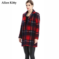 Alien Kitty Vintage Wool Blends Winter Female Overcoat Regular Full Sleeves Print Plaid Single Breasted Women