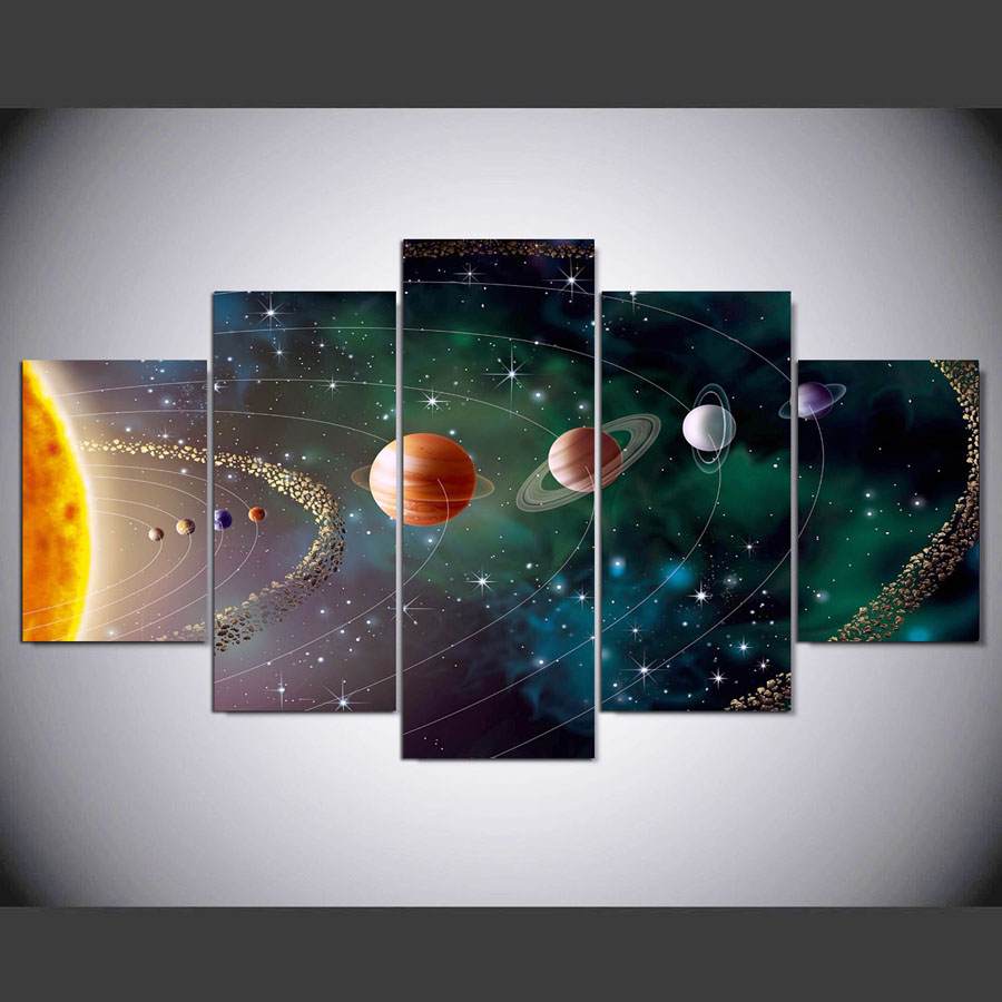 5-Pieces-Canvas-Paintings-Beautiful-Planets-Solar-System-Ourer-Space-print-pictures-home-decor-framed-wall