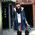 2017 fashion women denim outerwear trench with a hood warm spring winter elegant loose medium long denim trench coat plus size