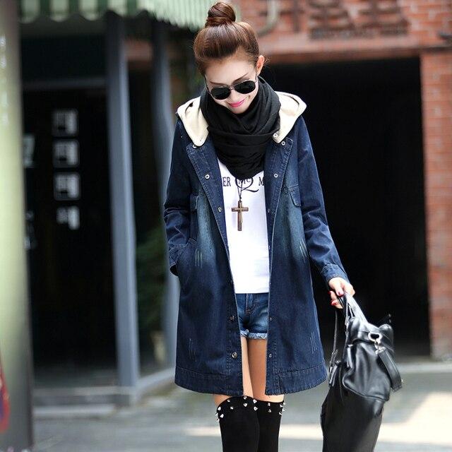 2017 mujeres de la moda denim zanja prendas de vestir exteriores con una capucha caliente invierno primavera elegante floja medio-largo denim trench coat plus tamaño
