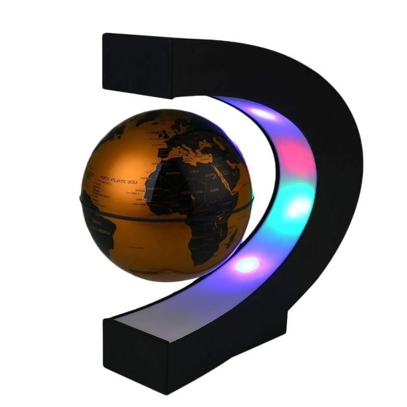 Magnetic Levitation Floating World Map Globe C Shape Base Anti Gravity with LED Light Lamp for Kids Education Teaching Demo Home