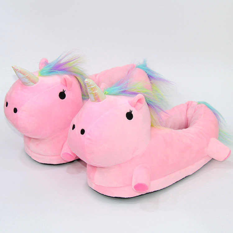 1089885ae34 ... Beautiful Unicorn Plush Indoor Slippers Adults Kids Children Autumn  Winter Home Slippers White Pink Unicorn Slippers ...