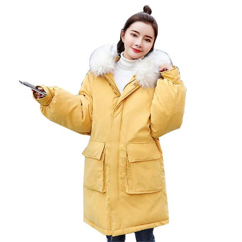 Women Winter Cotton Jacket 2019 New Padded Warm Parkas Female Fur collar Coat Autumn Outwear casacas para mujer invierno c192