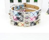 USD1.3/PC Wholesale Grid Dog Collar Mix Colors Adjustable choose size New Dog Puppy Pet Collar Rhinestone Bone Attached