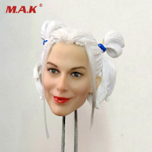 1/6 scale female girl head sculpt Scale White Hair Harley Quinn Head Carving Model Fit for 12 inches figure body