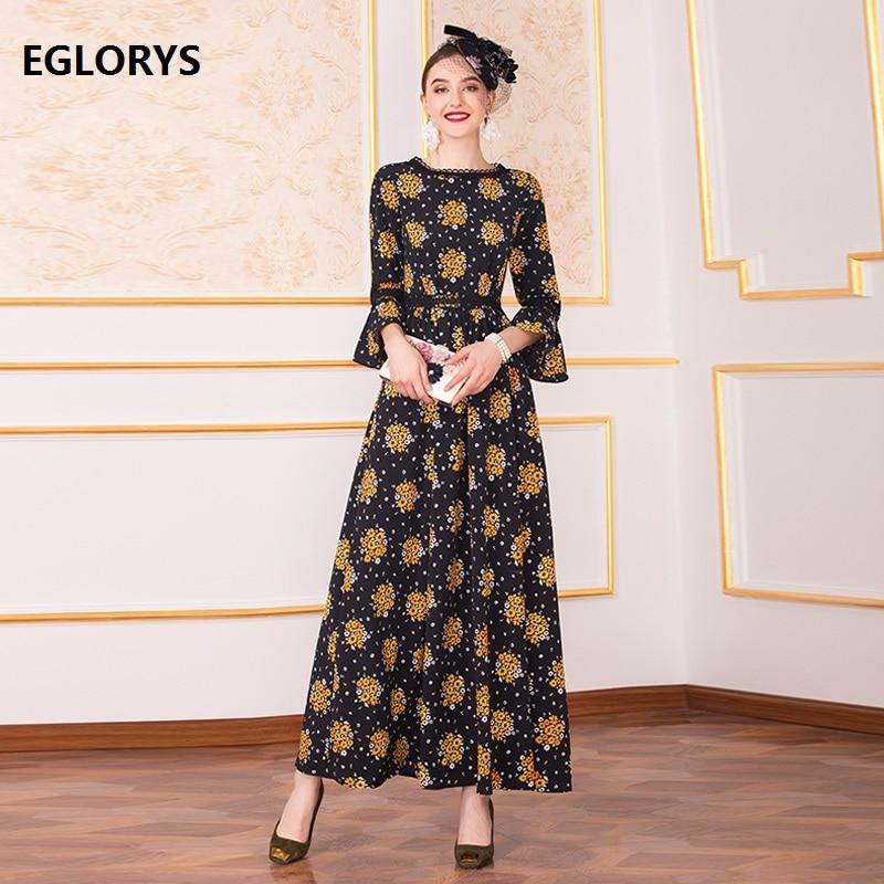 Haute qualité nouvelle marque 2019 automne longue robe grande taille 4XL vêtements femmes Vintage fleur imprimer Flare manches fête Maxi robe