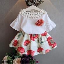 Летний пуловер с круглым вырезом для маленьких девочек футболки с короткими рукавами юбки с цветочным принтом повседневный комплект из 2 предметов
