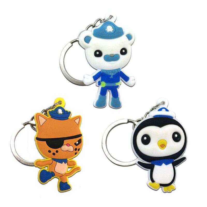 3pcs The Octonauts Cartoon Figure Soft Pendant+Keychain Car Key Holder Key Chain Key RingCover Pendant Kid Gift Party Favor