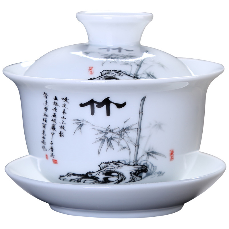 Chinese Style Hand Painted White Porcelain Cover Bowl Tea Set Exquisite Gorgeous Four Specifications Chinese Ceramic Teacup 翻轉 貓 砂 盆