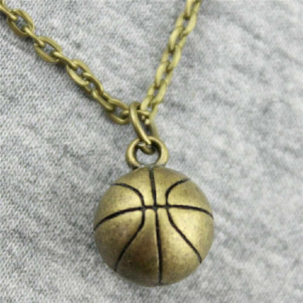 2 kolory Antique srebrny kolor antyczny odcień brązu 11mm 3D koszykówka naszyjnik dla kobiet 2019 modna biżuteria na prezent